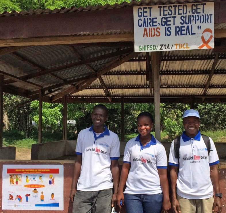 Community volunteers provide Ebola Virus Disease social mobilization messaging