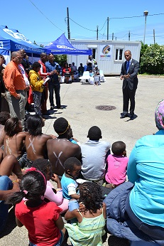 Ambassador Gaspard addresses the youth on the fight to get to zero new HIV infections at the handover of medical equipment to the Eastern Cape Department of Health at Kwazakhele Clinic, Eastern Cape.