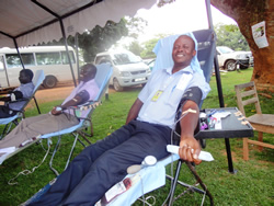 Photo of Ugandans giving blood