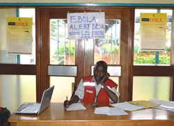 Photo of an Ebola alert desk
