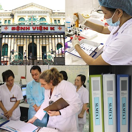 After 12 months of training and mentoring, Anna Murphy, Technical Consultant from the American Society for Clinical Pathology, conducts the SLMTA exit assessment of the laboratory at the National Cancer Hospital in Hanoi, Vietnam.