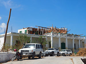 Damaged hospital in Jeremie, Grand'Anse, Haiti after Hurricane Matthew hit in October 2016 (Photo Courtesy of Coralie Giese, Global RRT)