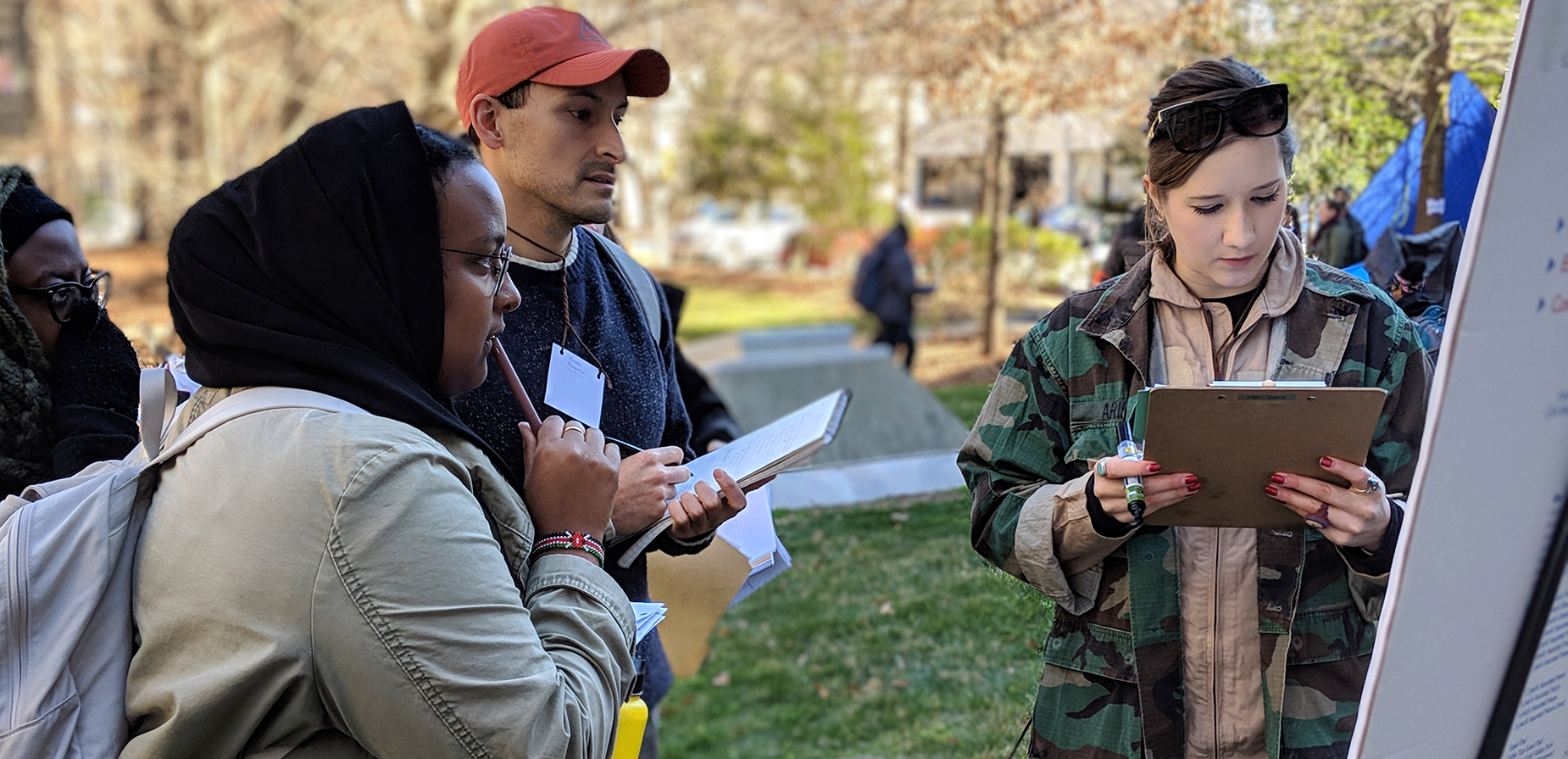 Emergency Response and Recovery Branch staff working through the Refugee Simulation exercise with MPH students during the Health in Complex Humanitarian Emergencies course at Emory University's Rollins School of Public Health (January, 2020). Photo: Leah Dick