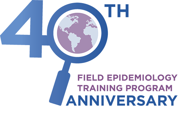 FETP 40th Anniversary Logo, including a magnifying glass over the globe