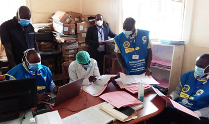 FELTP residents wear masks while training Kiambu County Government staff in Kenya.