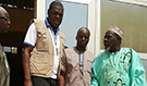 Dr. Adama N'Dir, CDC Acting Country Director, Dr. Ibrahim Fomba, FETP STEP graduate, and Dr. Farka Maiga, Ministry of Health representative in Bamako