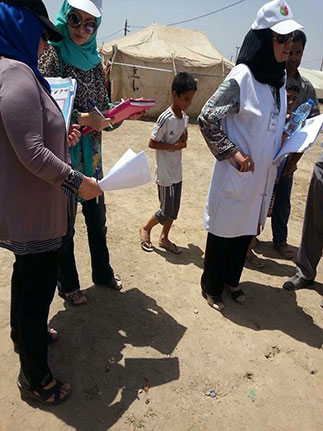 Rana Khalid and residents of cohort 5 Iraq FETP are investigating diarrhea disease outbreak of Internally Displaced People (IDPs), Baghdad, Iraq.