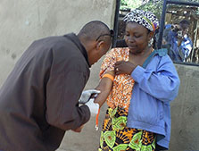 Tanzania FELTP resident Dr. Prosper Njau collecting a blood sample from a suspected brucellosis case in Kiteto District, Tanzania. An outbreak of brucellosis in humans was reported from the district in May 2012. It was found that slaughterhouse workers were more affected.