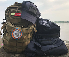 Luis Hernandez's gear in front of the Congo River.