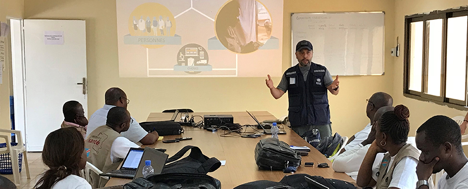 CDC Emergency Management Specialist Luis Hernandez conducts IMS and EOC training for organizations involved with the 2018 DRC Ebola response.