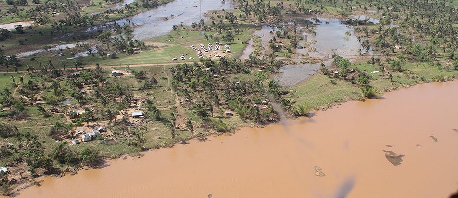 Aerial view of distruction and flooding in Sofala Province, Mozambique, from Cyclone Idai. Photo: Daniel Singer