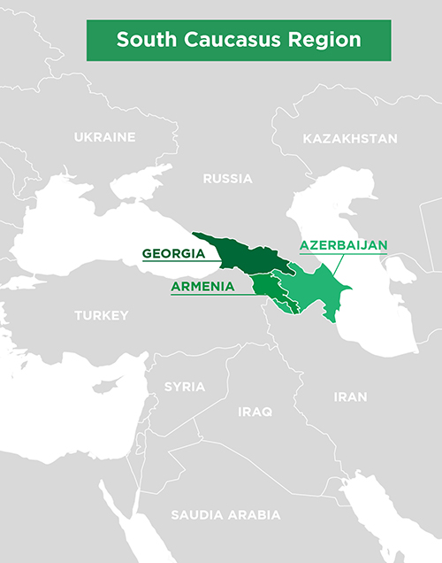 Map of South Caucasus Region, showing all countries in area and highlighting the neighbors of Georgia, Armenia, and Azerbaijan