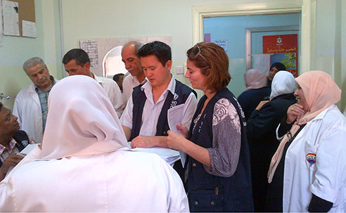 Eugene Lam and team monitoring a measles vaccination drive in northern Jordan (Source: Eugene Lam, CDC)