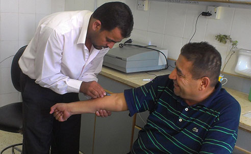 Tuberculosis testing at a health facility in Marfraq Governorate, Jordan (Source: Susan Cookson, CDC)