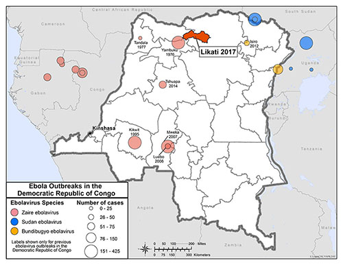 map showing Ebola Outbreaks in the Democratic Republic of Congo. Largest outbreak in Likati health zone during May 2017.