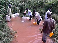 Collected samples from a contaminated water source; Photo: Yazid Kachwamba