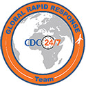 Global Rapid Response Team logo: shows map with CDC 24/7
