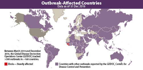 Map of outbreak affected countries, data as of 31 Dec 2016. Between March 2014 and December 2016, the Global Disease Detection Operations Center (GDDOC) tracked more than 300 outbreaks in about 160 countries.. Map shows countries heavily affected by Ebola as well as countries with other outbreaks reported by the GDDOC, Centers for Disease Control and Prevention
