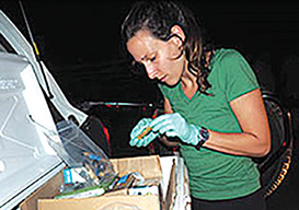Ashley Greiner (Global RRT Tier 1 Epidemiologist) working long hours conducting cholera case investigations in Haiti after Hurricane Matthew. Photo courtesy: Coralie Giese, Global RRT.