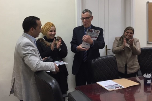 CDC Egypt Program Director Dr. Mark Wooster presents a Damanhur Study Certificate of Appreciation to Egypt Ministry of Health and Population (2019).