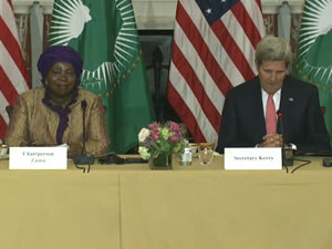 Secretary Kerry and African Union Commission Chairperson Nkosazana Dlamini Zuma deliver opening remarks at the Department of State.