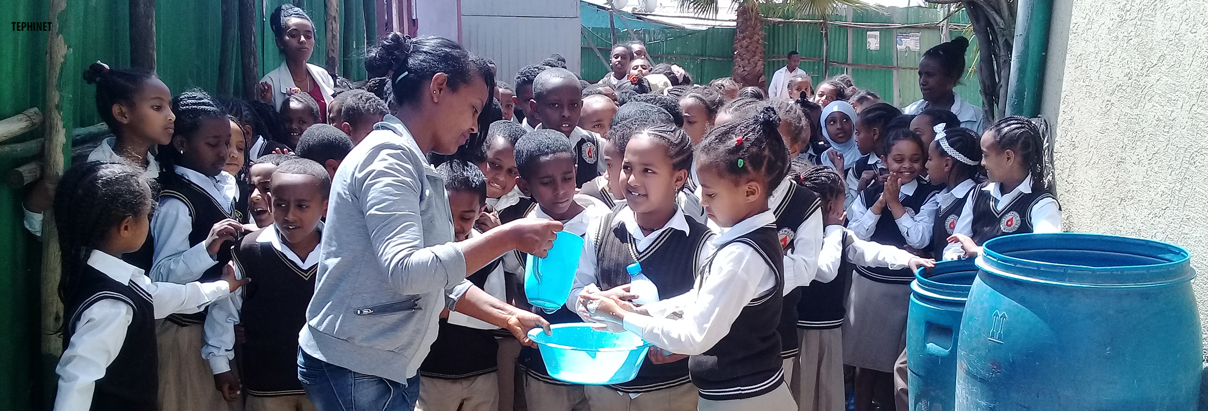 Demonstration of hand washing during outbreak investigation in Addis Ababa, Ethiopia. Photo: TEPHINET