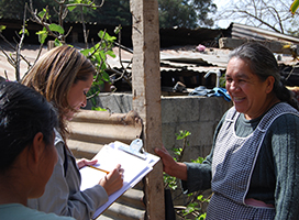 Epidemiologists interview a woman in rural Guatemala.
