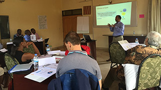 Jami Husain from CDC's Global NCD team delivers the NCD program manager course to the Rwanda IHDPC NCD Division.