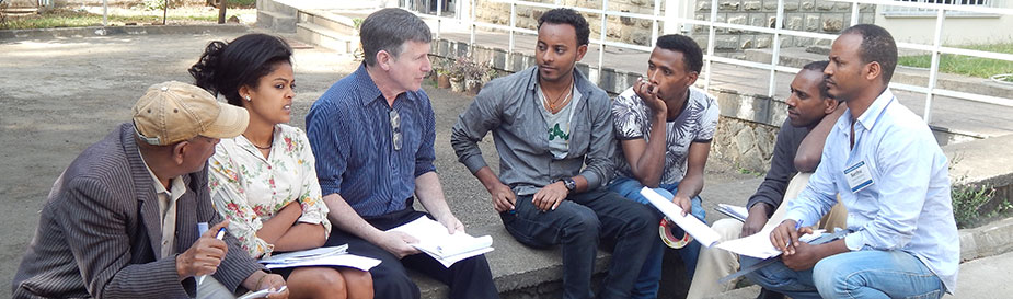 Trainer Bob Jones debriefing his group about lab etiquette at the Ethiopian Public Health Institute in Addis Ababa during February 2016.