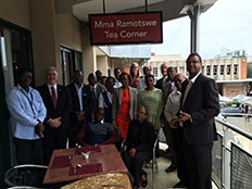 BPHI strategic planning group at the Mma Ramotswe Tea Corner, President Hotel, Gaborone, Botswana.