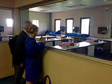 CDC NPHI teammates Dennis Jarvis and Wendi Dick observe the University of Namibia's cadaver model laboratory