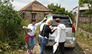 The Hepatitis C survey team locates households in Georgia. Georgia's survey teams really went above and beyond.