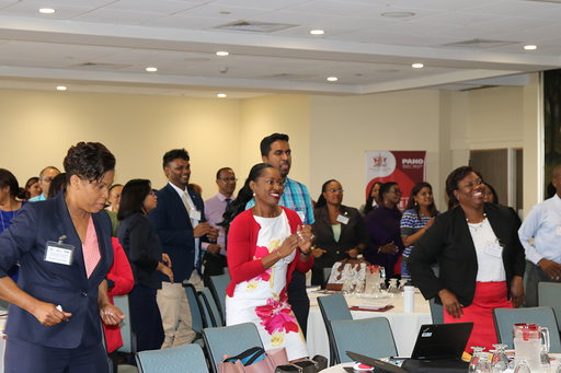 Healthcare workers lead by example, taking an active break during the TT Global Hearts Initiative launch. Photo: PAHO
