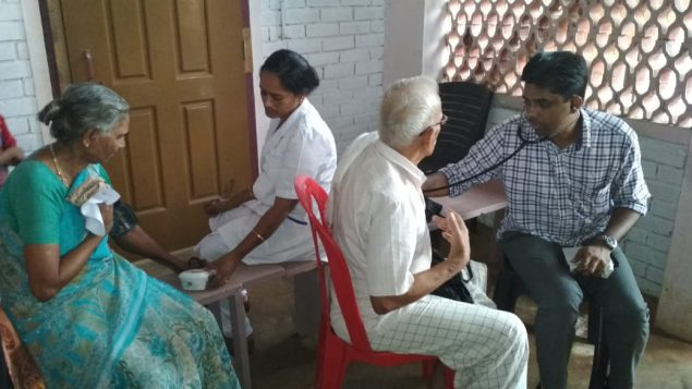 Local physicians screen for hypertension at a primary health center in Vanimal village in northern Kerala. Photo: Abishek S.
