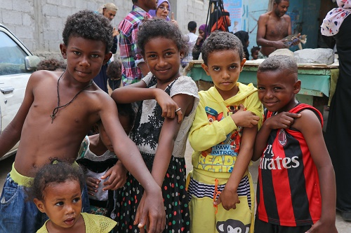 Children in Aden, Yemen show off the spots where they received their Measles and Rubella vaccinations. -  Image Courtesy of UNICEF