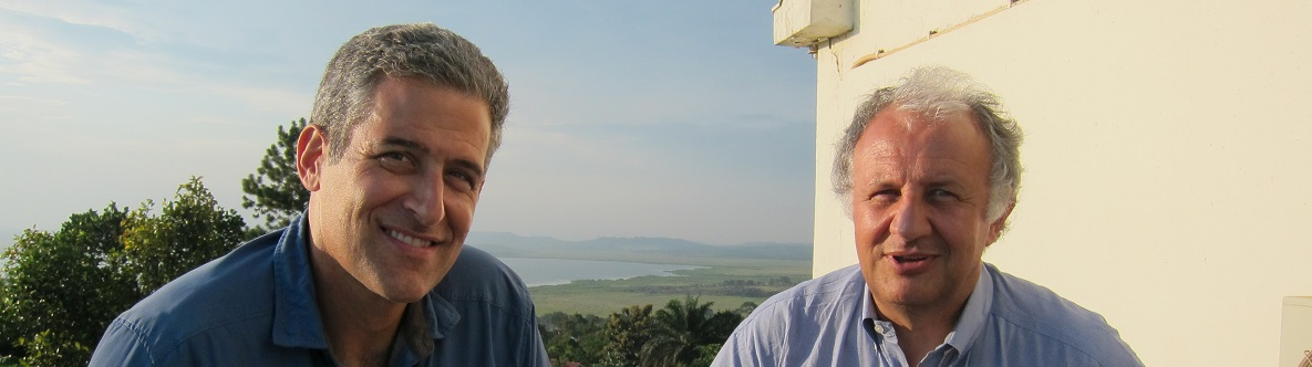 ABC News' Chief Health and Medical Editor, Dr. Richard Besser (left), interviews Dr. Pierre Rollin (right) at the Uganda Virus Research Institute in Entebbe. In August 2012, Dr. Rollin led a team from CDC's Viral Special Pathogens Branch investigating an outbreak of Ebola hemorrhagic fever in Kibaale District of Western Uganda.