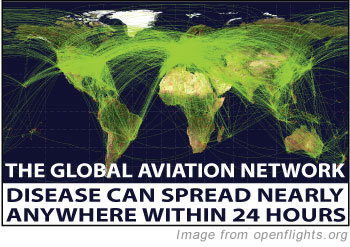 The Global Aviation Network - Disease can spread nearly anywhere within 24 hours. (Image from openflights.org)