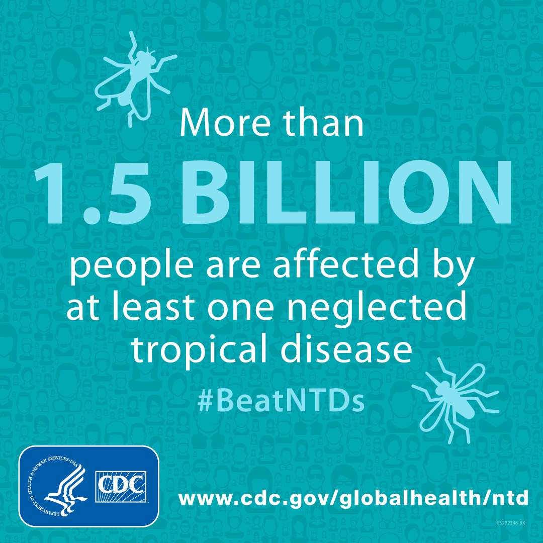 More than 1.5 Billion people are affected by at least one neglected tropical disease. #BeatNTDs