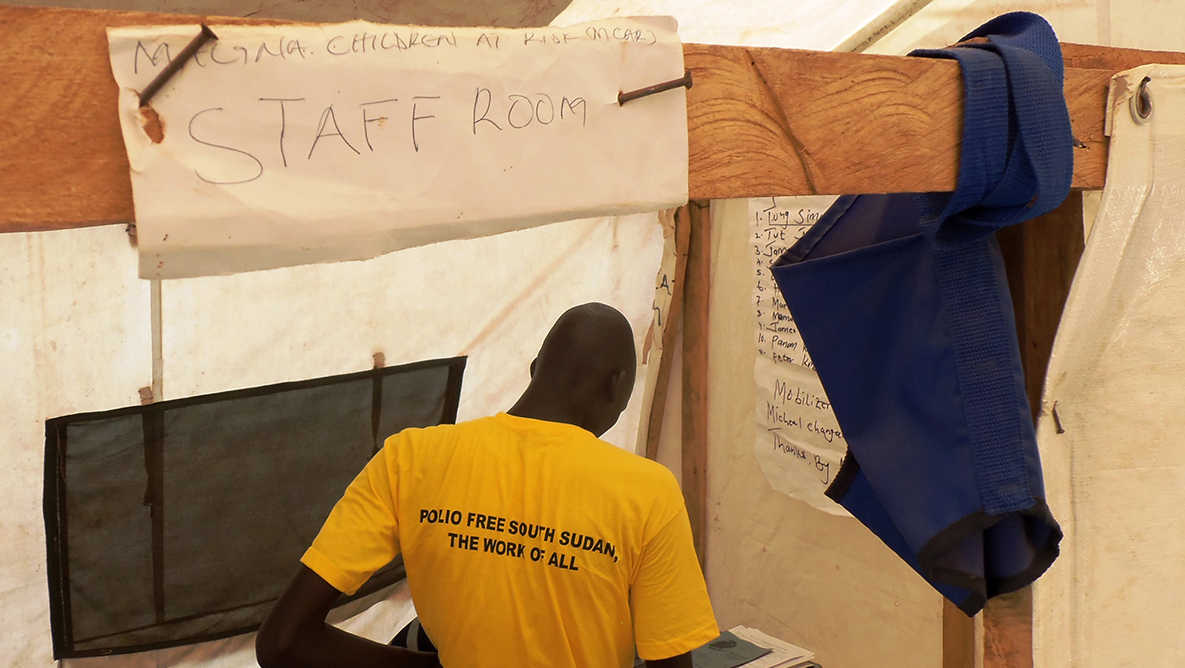 Here is a makeshift staff room in a tent
