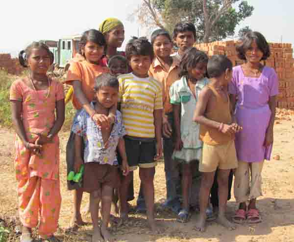 group of children in a village.