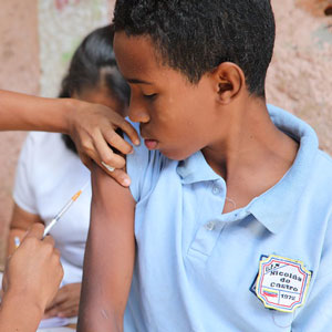 South American vaccination boy