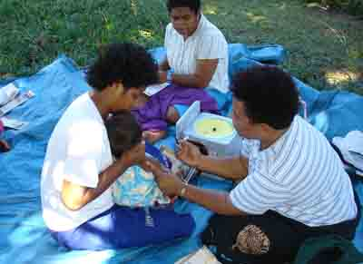 Fijian Child receives measles vaccine
