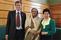 Bill Gates of the Bill and Melinda Gates Foundation, Mrs. Sheikh Hasiba, Prime Minister of Bangladesh, and Dr, Margaret Chan, Director General of WHO at the May, 2011 World Health Assembly