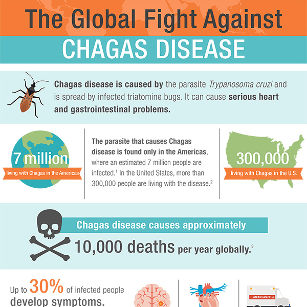 Chagas disease is caused by the parasite Trypanosoma cruzi and is spread by infected triatomine bugs. It can cause serious heart and gastrointestinal problems.