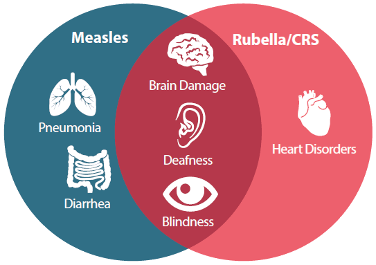 Measles can cause diarrhea and pneumonia. Rubella can cause heart disorders. Both can lead to brain damage, deafness, and blindness.