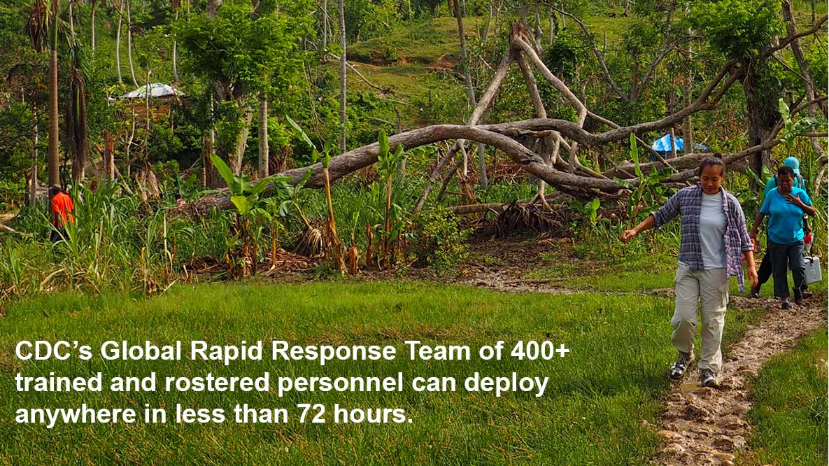 CDC's Global Rapid Response Team of 400+ trained & rostered personnel can deploy anywhere in less than 72 hours.