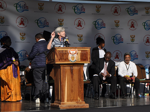 Dr. Nancy Knight addresses the crowds on behalf of the PEPFAR program, at the launch of the South African Young Women and Girls (YWG) Campaign, launched by the South African Deputy President Cyril Ramaphosa on the 24th June 2016, in KwaZulu-Natal.