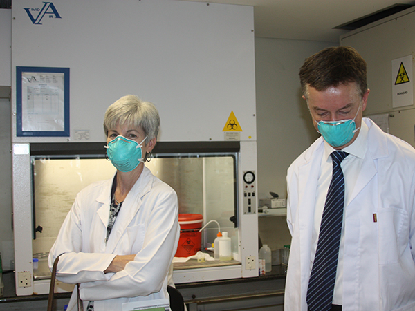 Dr. Nancy Knight, accompanies Dr. Thomas Warne, on a tour of the TB testing and treatment facilities at eThekwini CAPRISA Research Clinic on Tuesday, June 2, 2014, in Durban, KwaZulu-Natal.