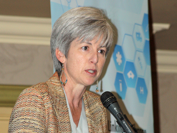 As CDC South Africa Country Director, Dr. Nancy Knight speaks at the CDC-funded Linking for Change: Strengthening Clinic Lab Interface (CLI) Systems Symposium, hosted by SEAD, which took place at Emperors Palace, Johannesburg, on the 11th and 12th of August 2014.