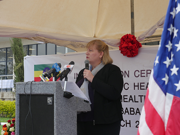 Dr. Rebecca Martin, Director of CDC's Center for Global Health, speaks at the inauguration event for the National Public Health Training Center in Ethiopia.